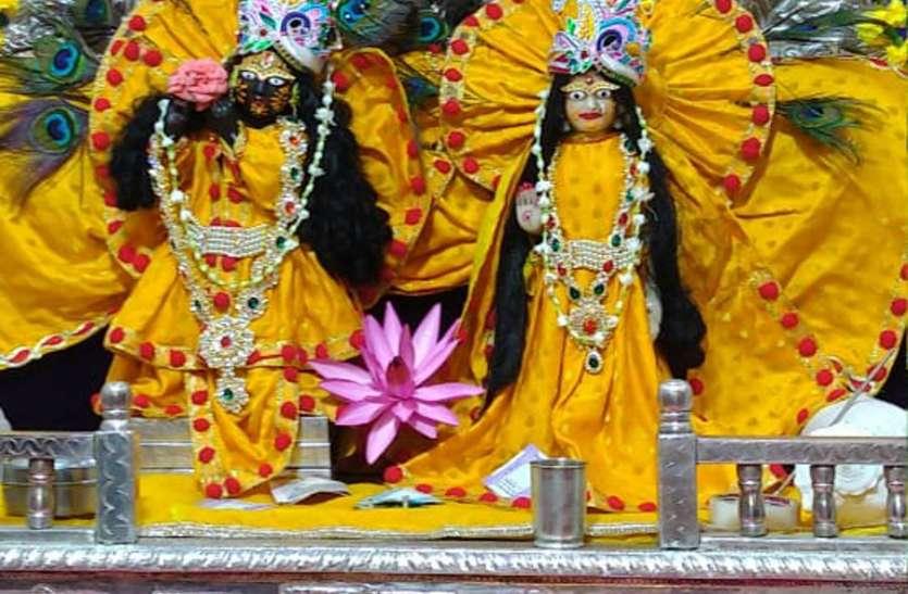 Janmashtami 2019: वृंदावन की तर्ज पर नर्मदा नगरी में सजा मटकी, बंशी, मोर पंख से कान्हा का मंदिर