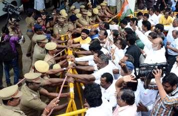 चिदंबरम की गिरफ्तारी के विरुद्ध राज्यभर में प्रदर्शन