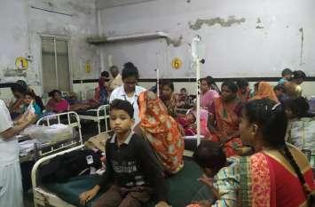 vidisha district hospital : एक पलंग पर दो से तीन बच्चे एडमिट, माताओं को जागकर काटनी पड़ रही रात