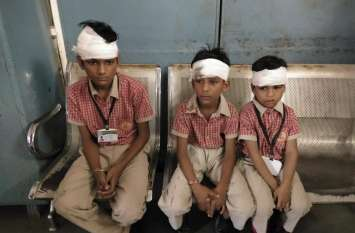 स्कूल वाहन पेड़ से टकराया, पांच बच्चे घायल