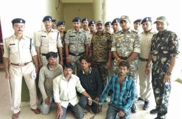 पांच लाख के गांजे के साथ पांच तस्कर पुलिस ने दबोचे