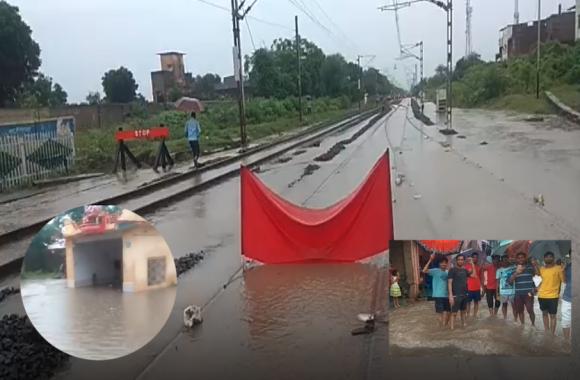राजस्थान के झालवाड़ में तेज बारिश, दिल्ली-मुंबई रेल मार्ग पर भरा पानी, जनजीवन प्रभावित