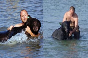 पानी में डूब रहा था 400 पाउंड का भालू, इस शख्स ने ऐसे बचाई जान
