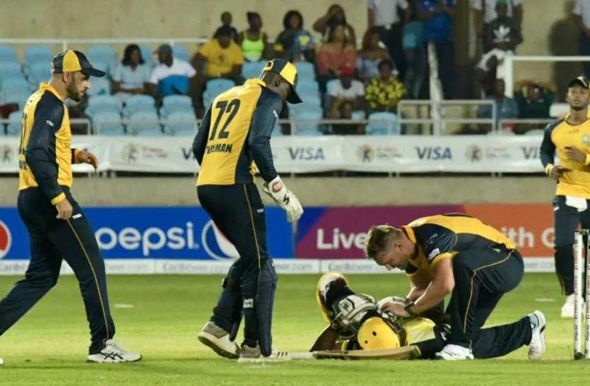 आंद्रे रसेल के सिर में लगी खतरनाक गेंद, स्ट्रेचर पर मैदान से ले जाया गया बाहर