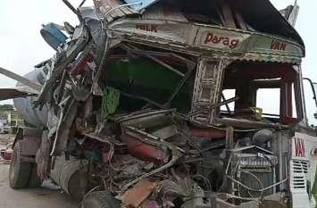 एनएच 24 बी पर हुआ हादसा,तेज रफ्तार दूध से भरा टैंकर खड़े ट्रक से टकराया, टैंकर ड्राइवर की मौके पर मौत