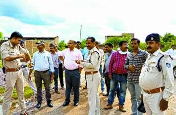 एनएचएआई के बायपास की जमीन का निरीक्षण करने पहुंची प्रशासन की टीम