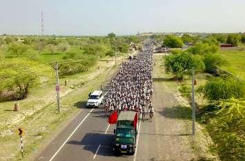 अहिंसा का संदेश देने निकले 500 से अधिक साइकिल यात्री पहुंचे बाड़मेर...देखिये फोटो गैलरी