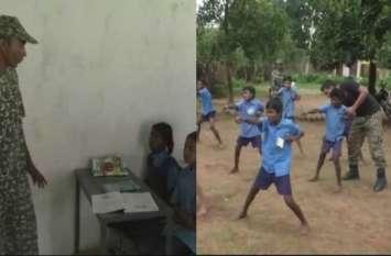 गोली की बोली नहीं शिक्षा की अलख भी जगा रहे नक्सल इलाके में तैनात जवान