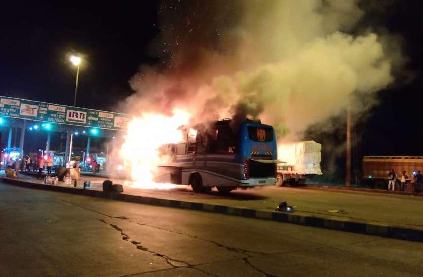 Surat News; लक्जरी बस में अचानक भडक़ उठी आग