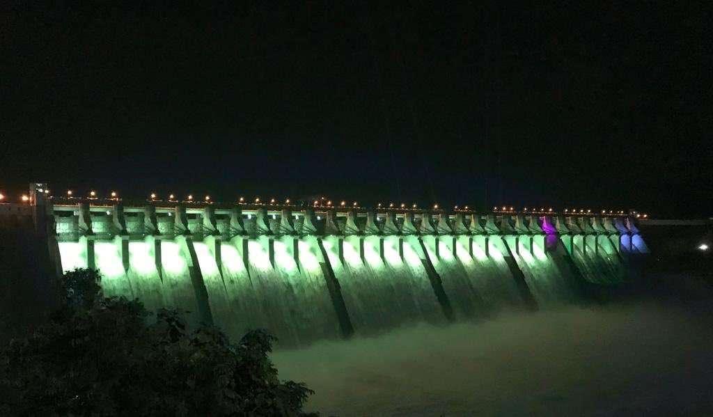 Sardar Sarovar Narmada dam decorated