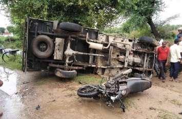अलवर के मजदूरों की जीप महेन्द्रगढ़ में पलटी , हादसे में एक की मौत और दो दर्जन लोग घायल
