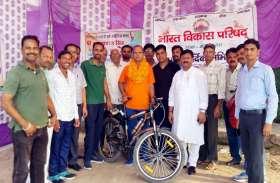 नशामुक्ति व पर्यावरण जागरूकता संदेश को मालपुरा से गंगोत्री के लिए साइकिल यात्री