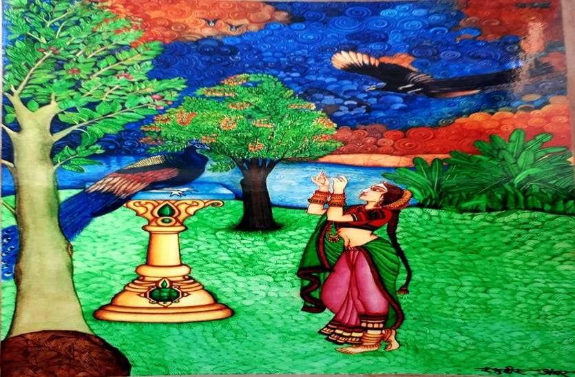 प्राकृतिक रंगों से तैयार 24 पेंटिंग्स में जीवंत हो उठे मेघदूतम के 275 श्लोक