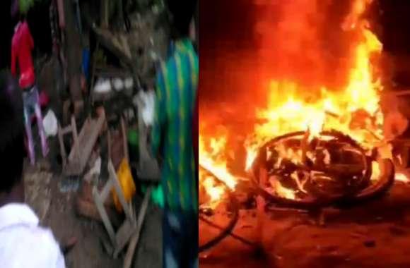 मूर्ति विसर्जन के दौरान हिंसा, कई दुकानों और वाहनों को किया आग के हवाले, भारी संख्या में फोर्स तैनात
