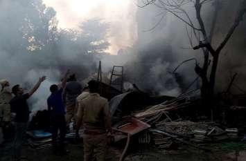 खातीपुरा में लगी भीषण आग, कई किलोमीटर दूर तक नजर आया काला धुआं, देखें वीडियो
