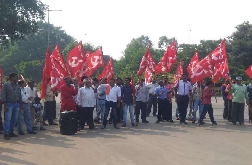बीएसपी के मजदूरों को बोनस, समय पर वेतन की मांग को लेकर प्रदर्शन