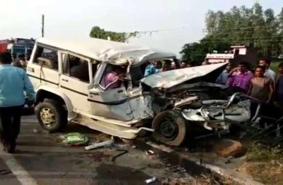 नेशनल हाइवे 28 पर भीषण सड़क हादसा, 2 की मौत, 7 लखनऊ रेफर