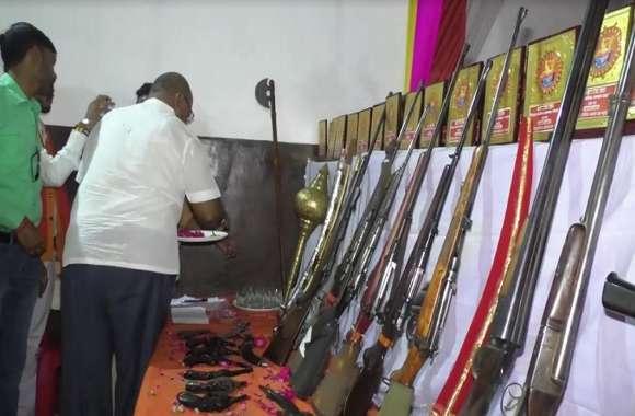बजरंगदल स्थापना दिवस पर शस्त्र पूजन का आयोजन, तमाम संगठन के कार्यकर्ता रहे शामिल
