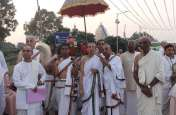 वृन्दावन चंद्रोदय मंदिर में चैतन्य महाप्रभु की दिव्य पादुका का हुआ भव्य स्वागत