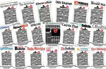 पाबंदियों का ऑस्ट्रेलिया में अनोखा प्रतिरोध, अखबारों का पहला पेज काला