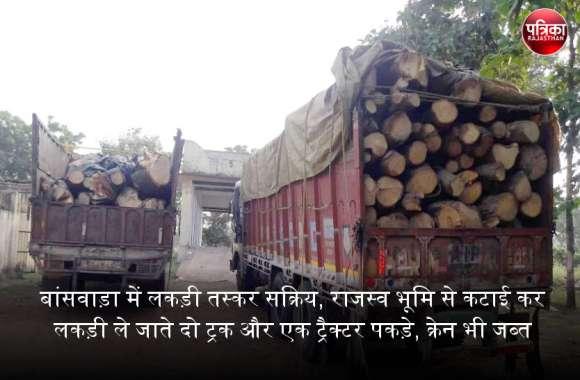 बांसवाड़ा में लकड़ी तस्कर सक्रिय, राजस्व भूमि से कटाई कर गीली लकड़ी ले जाते दो ट्रक और एक ट्रैक्टर पकड़े, क्रेन भी जब्त