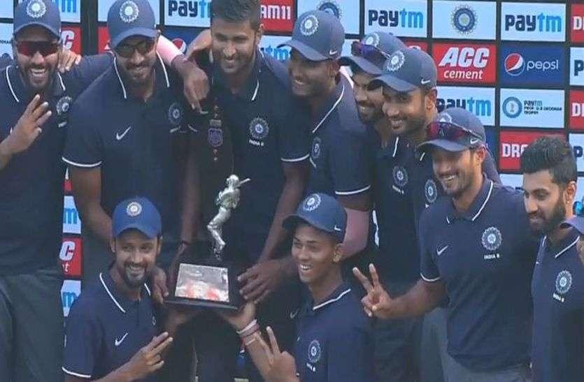 देवधर ट्रॉफी : नदीम की शानदार गेंदबाजी की बदौलत इंडिया-बी ने जीता खिताब, इंडिया-सी को 51 रन से हराया