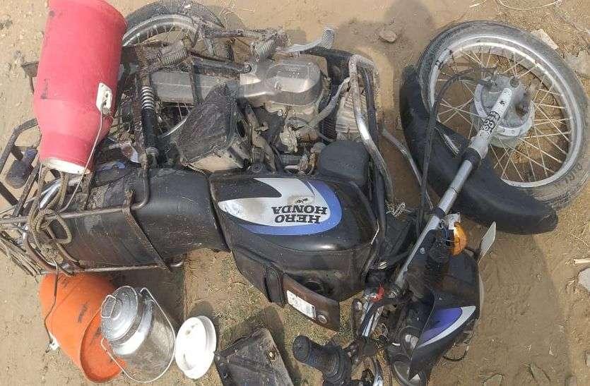 सड़क दुर्घटना में बाइक सवार दंपती की मौत