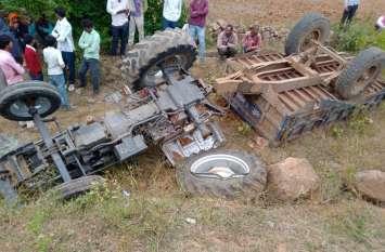 तेज रफ्तार ट्रैक्टर असन्तुलित होकर खाई में गिरने से एक की मौत