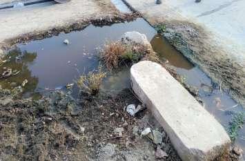 नालियों में जमा कचरा, सडक़ पर गहरे गड्ढे, घरों के बाहर जमा हो रहा पानी
