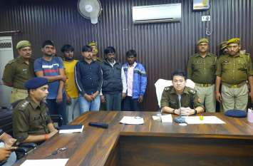 शराब की खेप के साथ पांच अंन्र्तप्रांतीय तस्करों को पुलिस ने गिरफ्तार किया