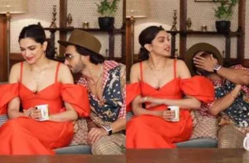 जब रणवीर सिंह ने  बीच इंटरव्यू में दीपिका पादुकोण को किया KISS,  एंकर ने टोका-ये यहां मत करो