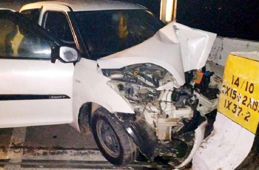 रात के अंधेरे में डिवाइडर से टकराई कार, चालक की मौत