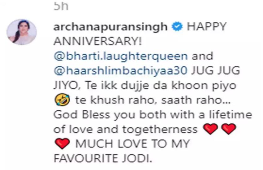 Archana puran singh comment on haarsh limbachiyaa post
