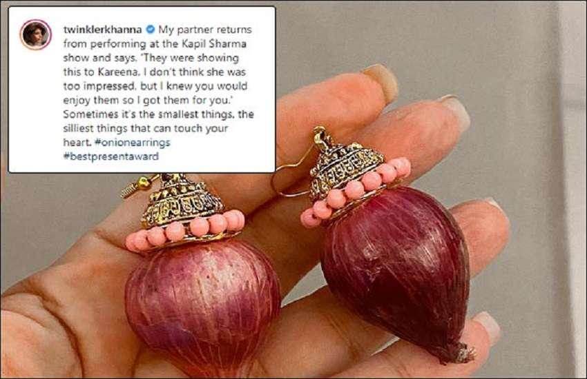 Akshay kumar giftted onion earings to twikle khanna