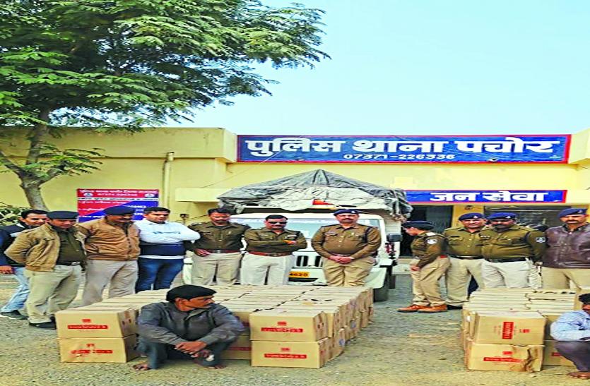 वाहन में मिली अवैध शराब, पुलिस ने 153 पेटी किया जप्त