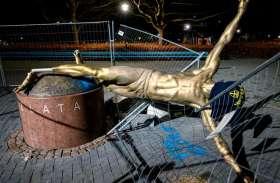 माल्मो: स्वीडन के सबसे बड़े फुटबॉल स्टार इब्राहिमोविक का अपमान, तोड़ी गई कांसे की प्रतिमा