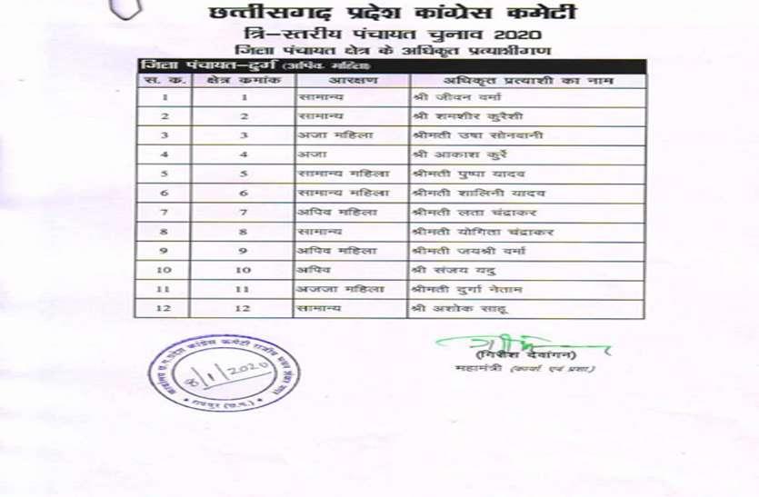मुख्यमंत्री के आने से पहले कांग्रेस ने जारी की दुर्ग जिला पंचायत प्रत्याशियों की सूची, जानिए किसे मिले मौका