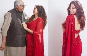 जाह्नवी कपूर फोटोज वायरल: पिता के साथ लाल साड़ी में लग रही 'पापा की परी'