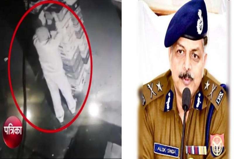 डेयरी से दूध उठाते CCTV में कैद हुए पुलिसकर्मी, नोएडा कमिश्नर ने दो को किया लाइन हाजिर, देखें वीडियो