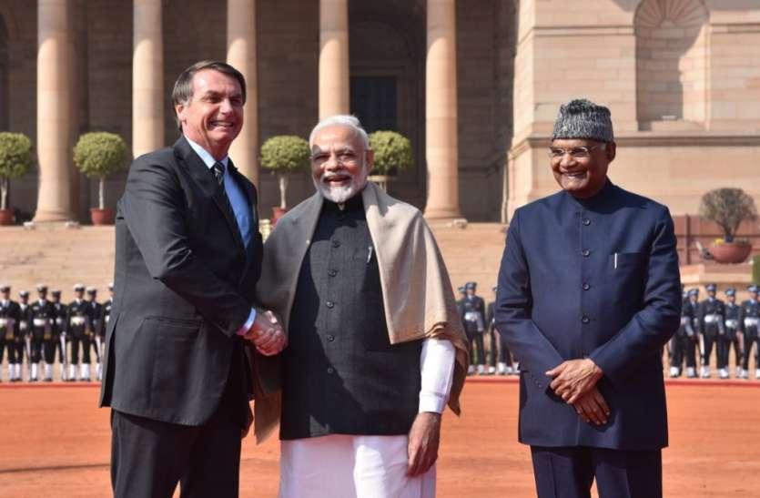 भारत पहुंचे ब्राजील के राष्ट्रपति, प्रेसिडेंट कोविंद और PM मोेदी ने किया स्वागत