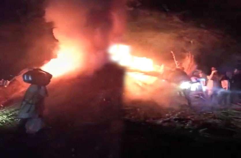 आग से 8 ट्रॉली कड़बी जलकर राख