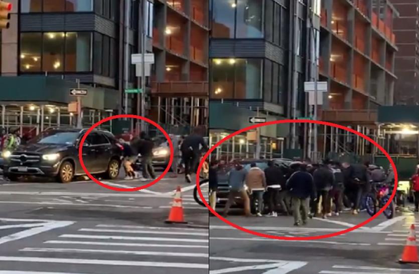 OMG! महिला कार के नीचे आई तो लोगों ने कार को ही उठा डाला, वीडियो वायरल