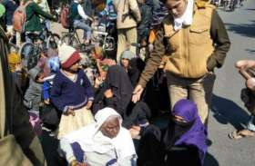 CAA Protest शाहजमाल में धरने के साथ अलीगढ़- मुरादाबाद  हाईवे जाम