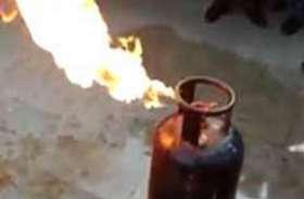 रामायण पाठ की पूर्णाहुति के लिए रसोई सामग्री तैयार की जा रही थी,  गैस सिलेंडर में आग ,अफरा-तफरी मची