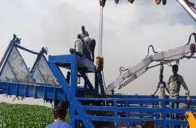 आजी-2 नदी से जलकुंभी हटाने के लिए सूरत से मंगाई मशीन, कार्रवाई शुरू