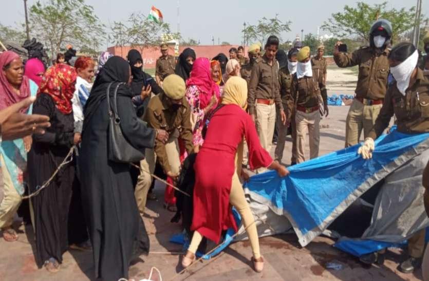घंटाघर में पुलिस से भिड़ीं प्रदर्शनकारी महिलाएं, कहा- कोरोना से खतरनाक है सीएए-एनआरसी