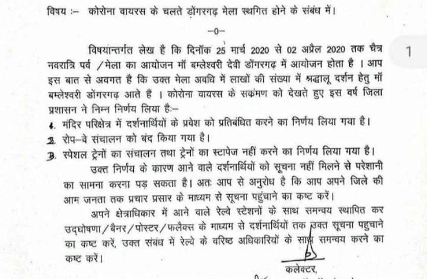 कोरोना वायरस संक्रमण से बचने कोई भी श्रद्धालु डोगरगढ़ न पहुंचे, 6 कलेक्टर को भेजे गए पत्र