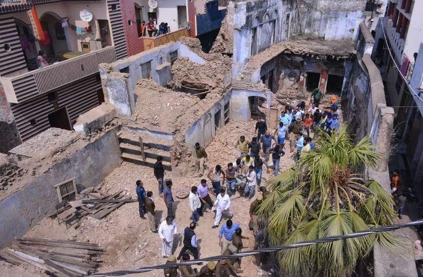 जर्जर इमारत का लिंटर गिरने से पांच मजदूर दबे, एक की मौत