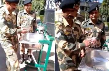 कोरोना: Army के जवान ने बनाई गजब की सैनिटाइजिंग मशीन, बिना छुए हाथ हो जाएगा साफ