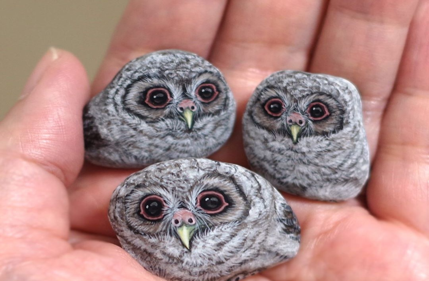 जापानी कलाकार पत्थर को देती जानवर का आकार